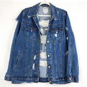 Iris Blue Distressed Denim Jean Jacket Pockets L
